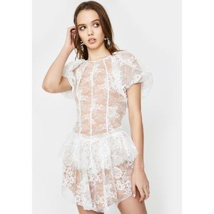 For Love & Lemons Verbena Lace Mini Dress